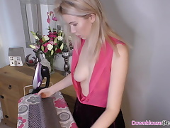 Naughty Alicia enjoying showing off her downblouse and tits