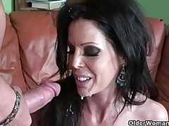 Half-starved milf Tabitha Stevens gets fucked with an increment of facialized